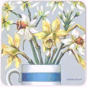 tea coaster daffodils
