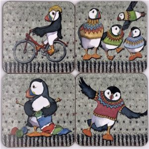 larkin tea puffin coasters