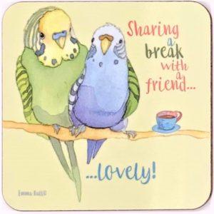 Sharing a Break with a Friend tea coaster