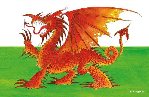 Welsh Dragon tea towels