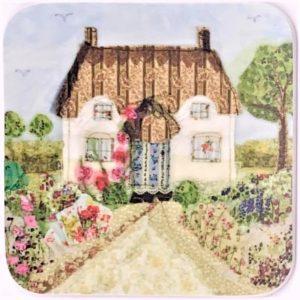 larkin tea cottage coaster