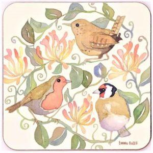 garden birds tea coaster