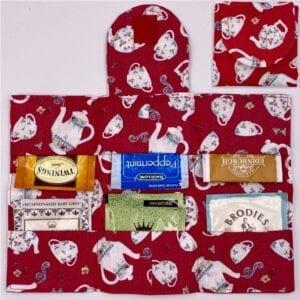 Tea Set on Red tea wallet